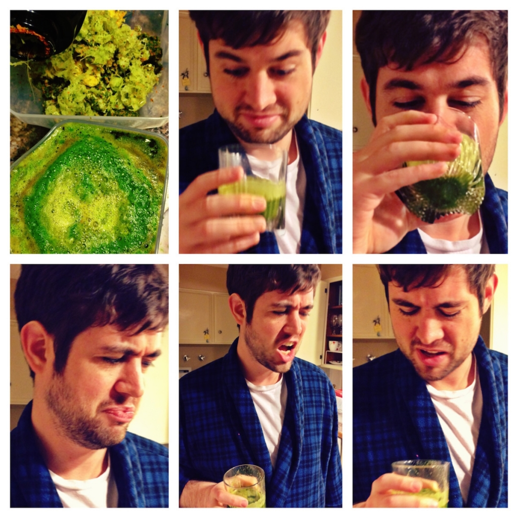 Josiah drinking green juice